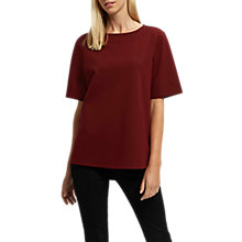 Buy Jaeger Jersey Button Shoulder Top, Burgundy Online at johnlewis.com