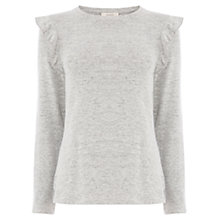 Buy Oasis Ruffle Shoulder Cosy Jumper, Mid Grey Online at johnlewis.com