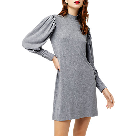 Buy Warehouse Pleated Sleeve Polo Neck Dress, Dark Grey Online at johnlewis.com