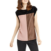 Buy Oasis Patched Velvet T-Shirt, Multi Online at johnlewis.com