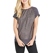 Buy Oasis Crinkle Double Layer Top, Metallic Pewter Online at johnlewis.com