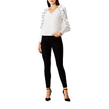 Buy Coast Clemmie Long Sleeve Frill Top, Monochrome Online at johnlewis.com