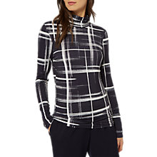 Buy Jaeger Graphic Check Jersey Roll Neck Top, Navy/Ivory Online at johnlewis.com