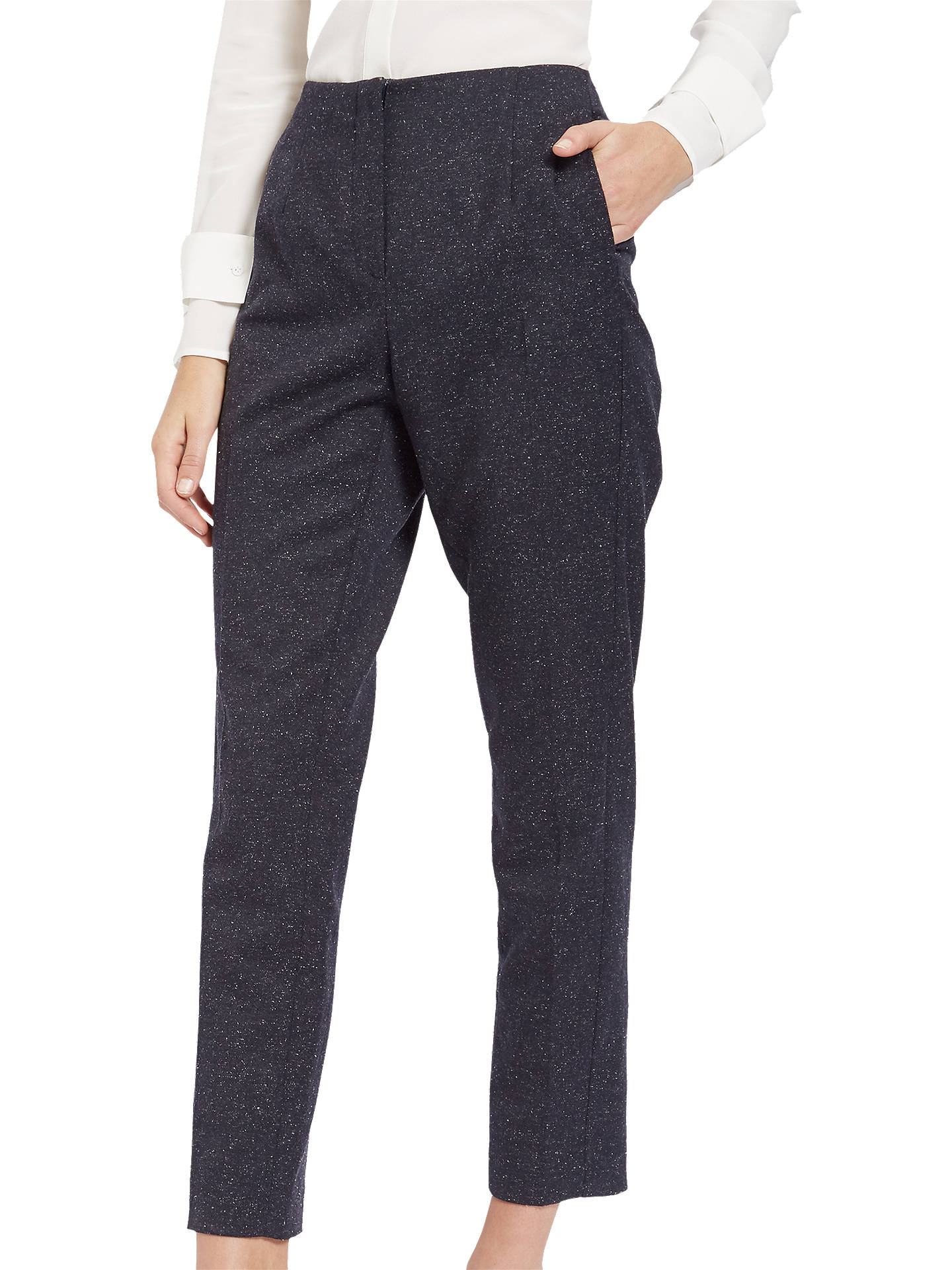 BuyJaeger Donegal Cigarette Trousers, Navy/Ivory, 6 Online at johnlewis.com