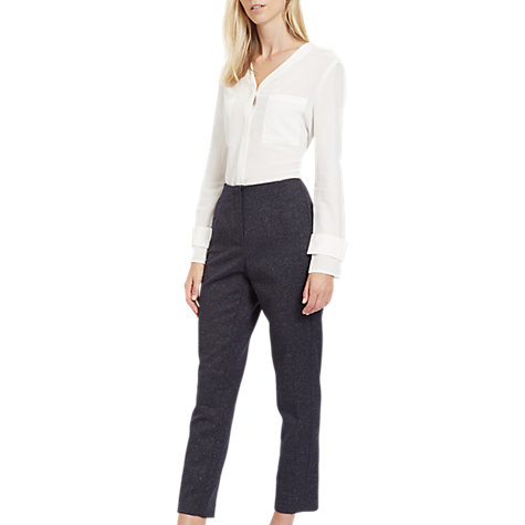 Buy Jaeger Donegal Cigarette Trousers, Navy/Ivory Online at johnlewis.com