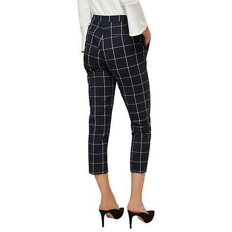 Buy Jaeger Wool Blend Check Cigarette Trousers, Navy/Ivory Online at johnlewis.com
