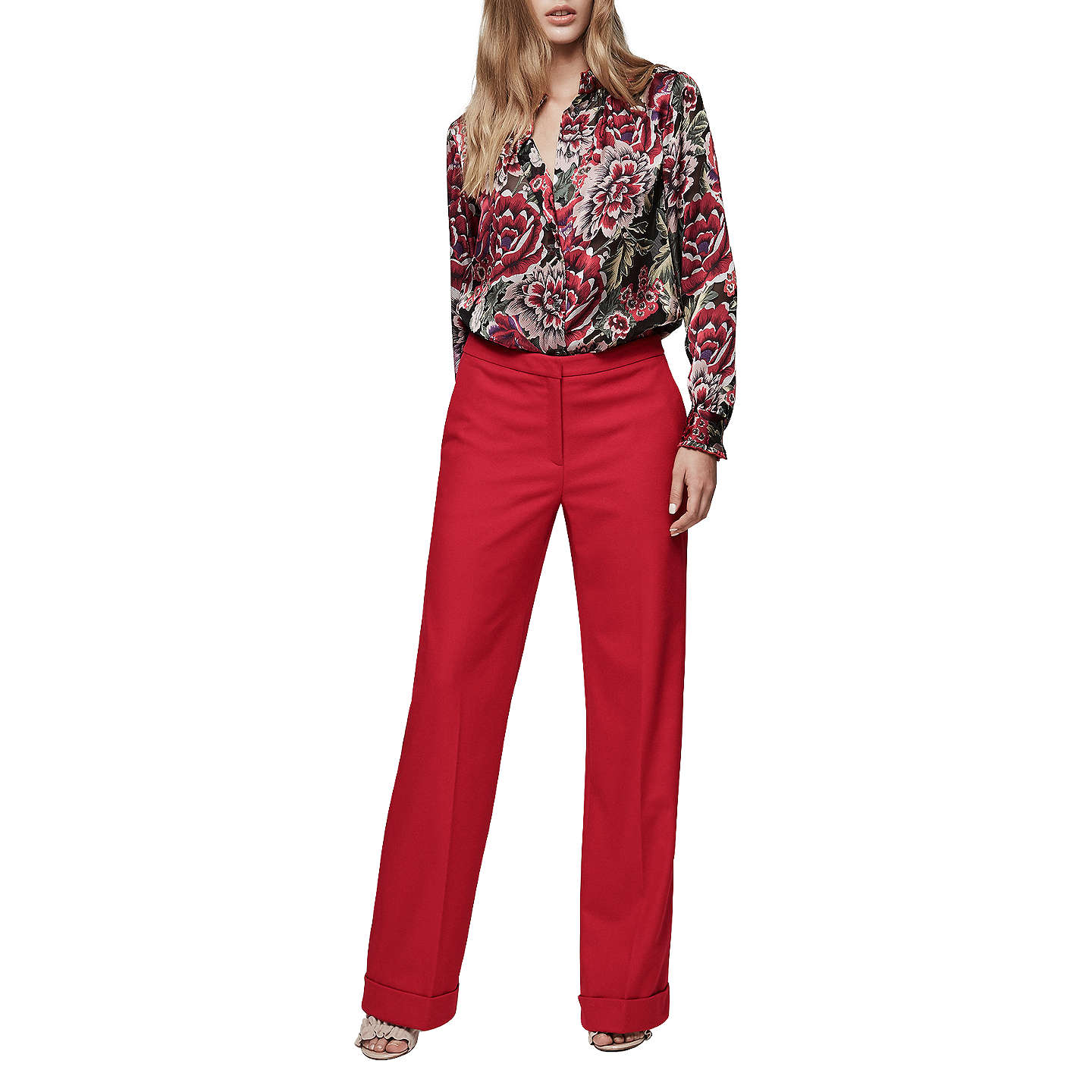BuyReiss Carla Wool Blend Wide Leg Trousers, Maraschino, 6 Online at johnlewis.com