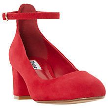 Buy Dune Allie Block Heeled Court Shoes, Red Suede Online at johnlewis.com