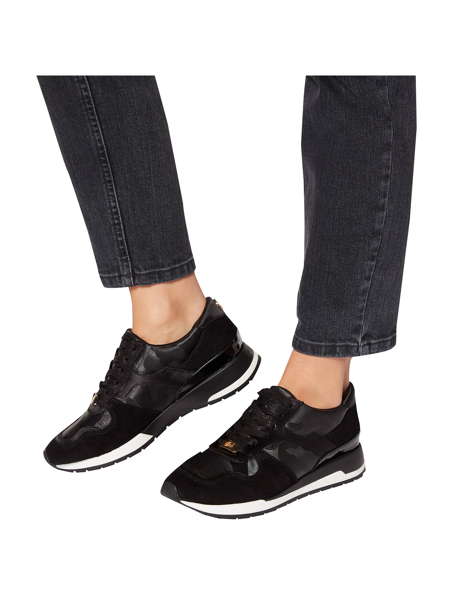 BuyDune Elena Lace Up Trainers, Black, 3 Online at johnlewis.com