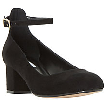 Buy Dune Allie Block Heeled Court Shoes, Black Suede Online at johnlewis.com