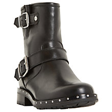 Buy Dune Riker Biker Boots, Black Leather Online at johnlewis.com