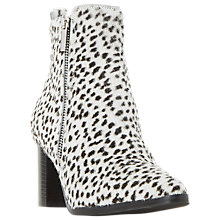 Buy Dune Black Passage Block Heeled Ankle Boots, Black/White Online at johnlewis.com