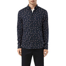 Buy AllSaints Birch Leaf Print Long Sleeve Shirt, Black Online at johnlewis.com