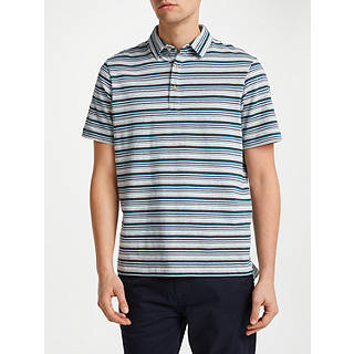 John Lewis Jack Stripe Polo Shirt, Grey