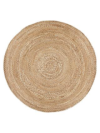 Croft Collection Jute Round Rug Natural Dia 180cm