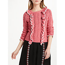 Buy Somerset by Alice Temperley Frill Two Tone Jumper, Coral Online at johnlewis.com