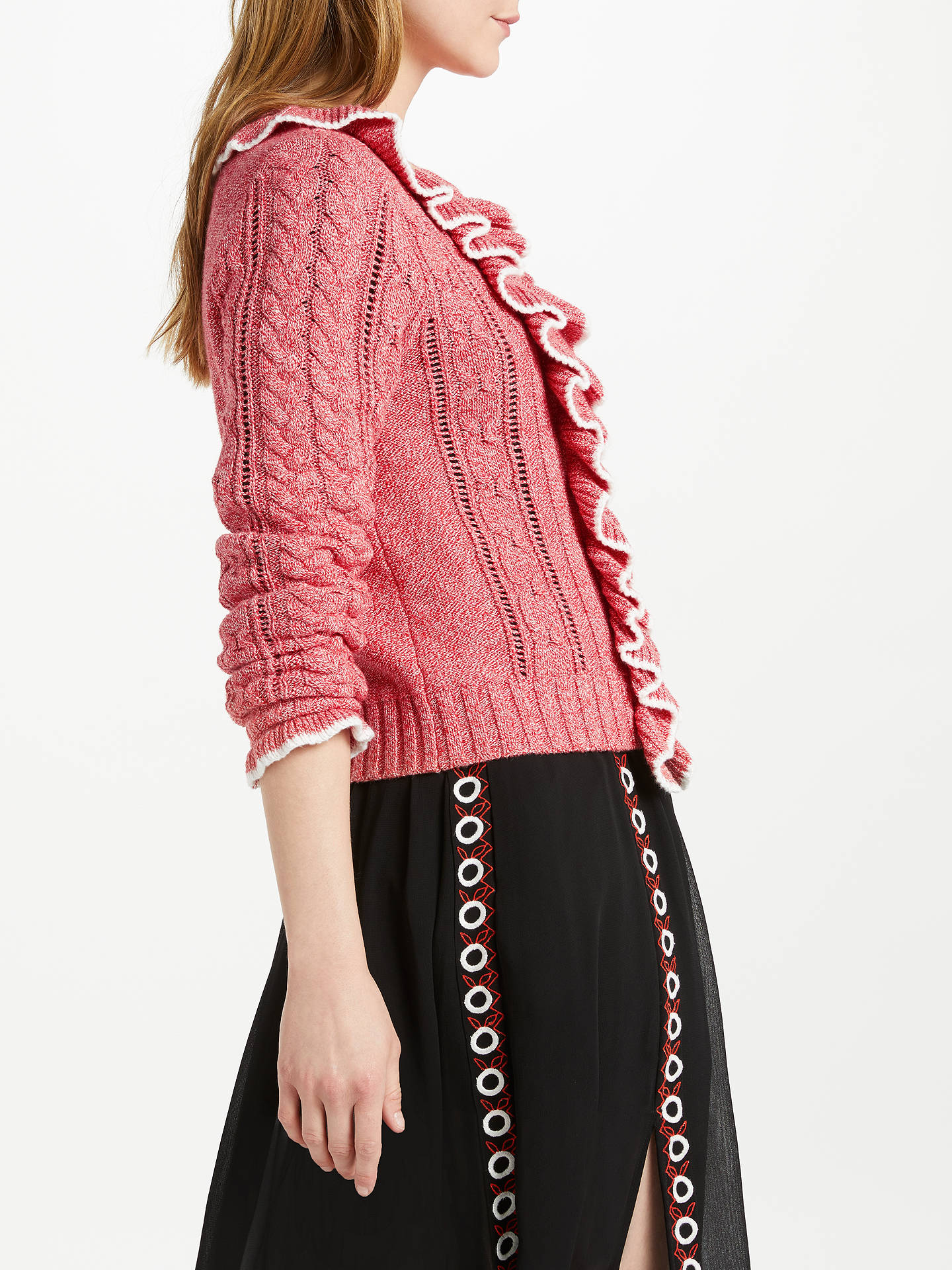 BuySomerset by Alice Temperley Frill Two Tone Jumper, Coral, 8 Online at johnlewis.com