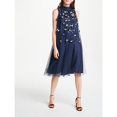 Bruce by Bruce Oldfield Embellished Pleat Dress, Navy