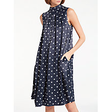 Buy Bruce by Bruce Oldfield Pleated Spot Dress, Navy Online at johnlewis.com