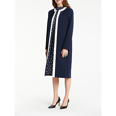 Bruce by Bruce Oldfield Tipped Long Jacket, Navy/White