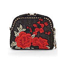Buy Chesca Rose Embroidered Cross Body Bag, Black/Red Online at johnlewis.com