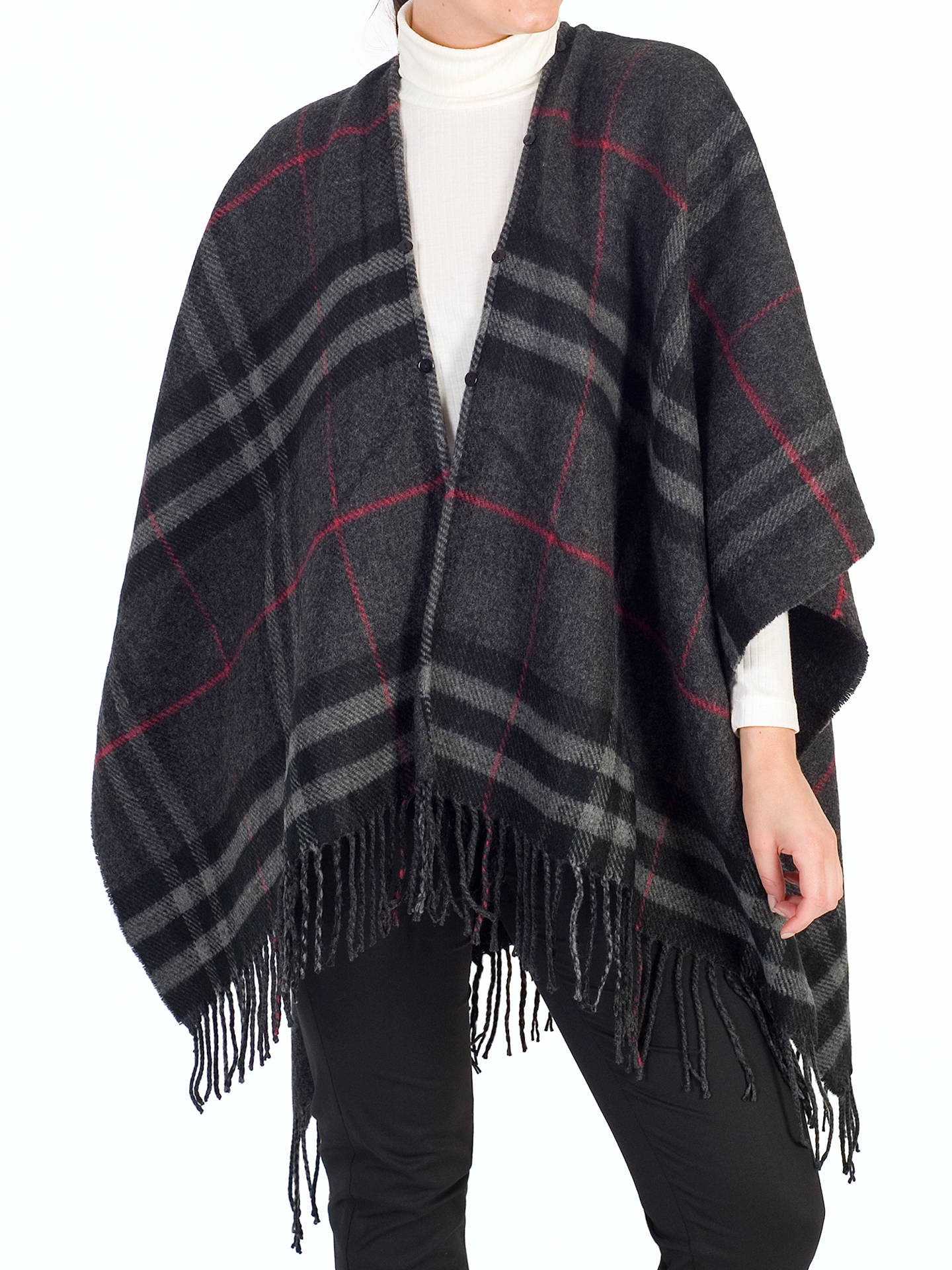 Buy Chesca Tartan Printed Faux Fur Trim Wrap, Charcoal, One Size Online at johnlewis.com