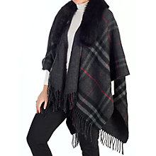 Buy Chesca Tartan Printed Fur Trim Wrap, Charcoal Online at johnlewis.com