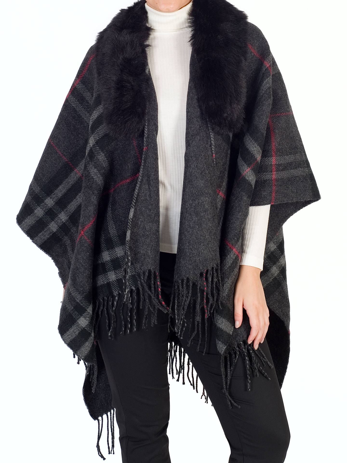 Buychesca Tartan Printed Fur Trim Wrap, Charcoal, One Size Online at johnlewis.com