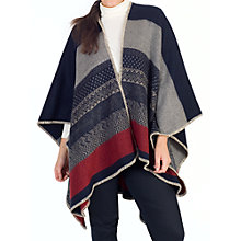 Buy Chesca Aztec Detail Striped Wrap Knit, Red/Navy Online at johnlewis.com