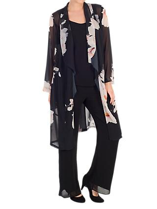 Chesca Floral Print Chiffon Coat, Black/Blush