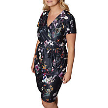 Buy Yumi Curves Digital Snowdrop Wrap Dress, Dark Grey Online at johnlewis.com