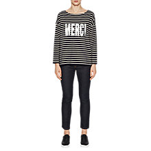 Buy French Connection Merci Long Sleeve Top, Nocturnal/Classic Cream Online at johnlewis.com