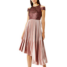 Buy Coast Delores Pleated Velvet Dress, Pink Online at johnlewis.com