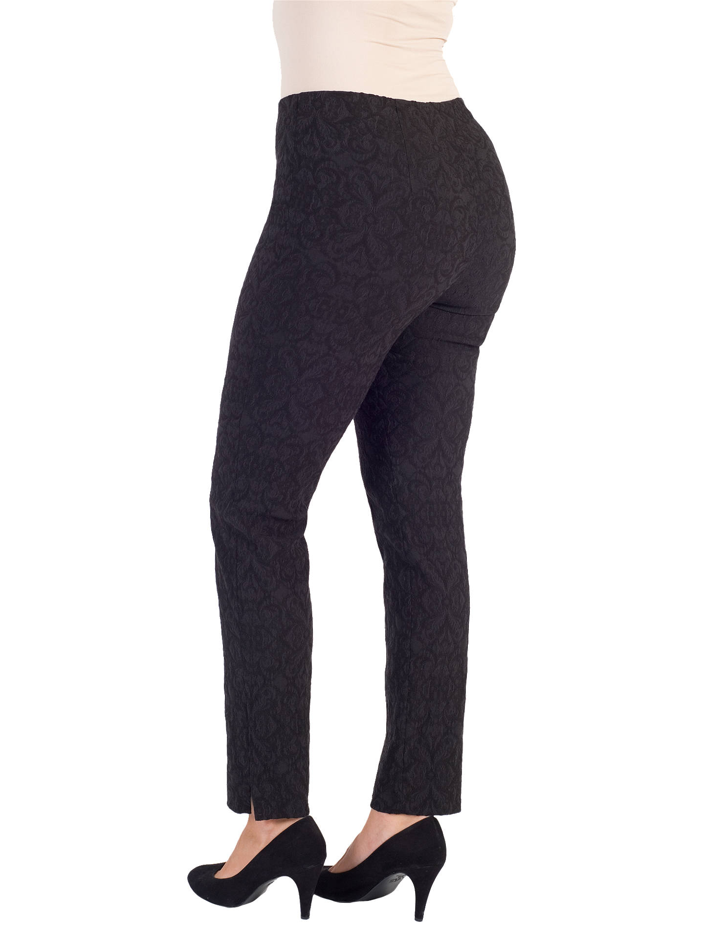 Buy Chesca Jacquard Slim Stretch Trousers, Black, 14 Online at johnlewis.com