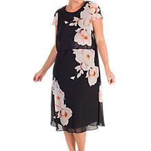 Buy Chesca Floral Print Layered Chiffon Dress, Black/Blush Online at johnlewis.com