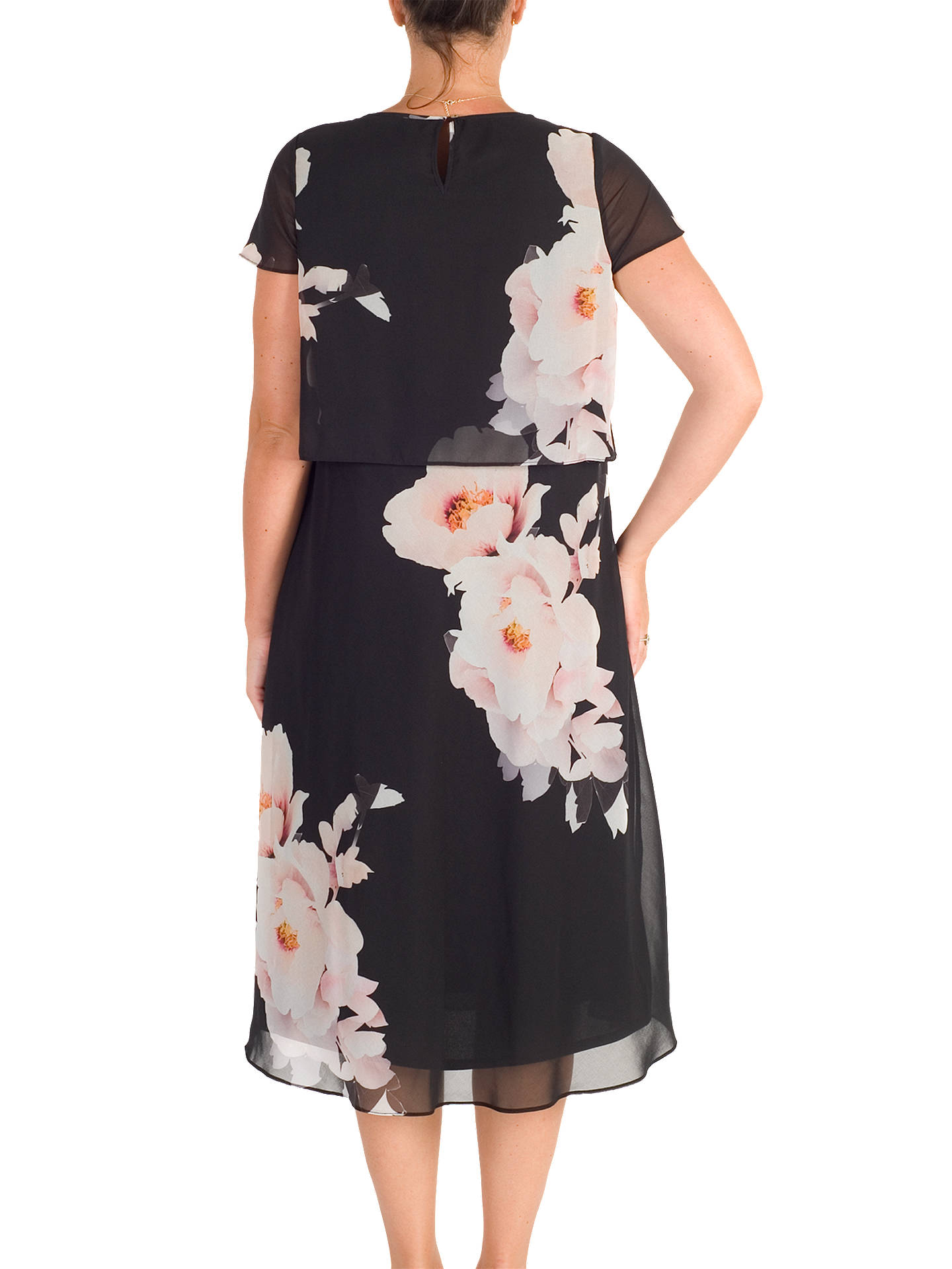 BuyChesca Floral Print Layered Chiffon Dress, Black/Blush, 12 Online at johnlewis.com