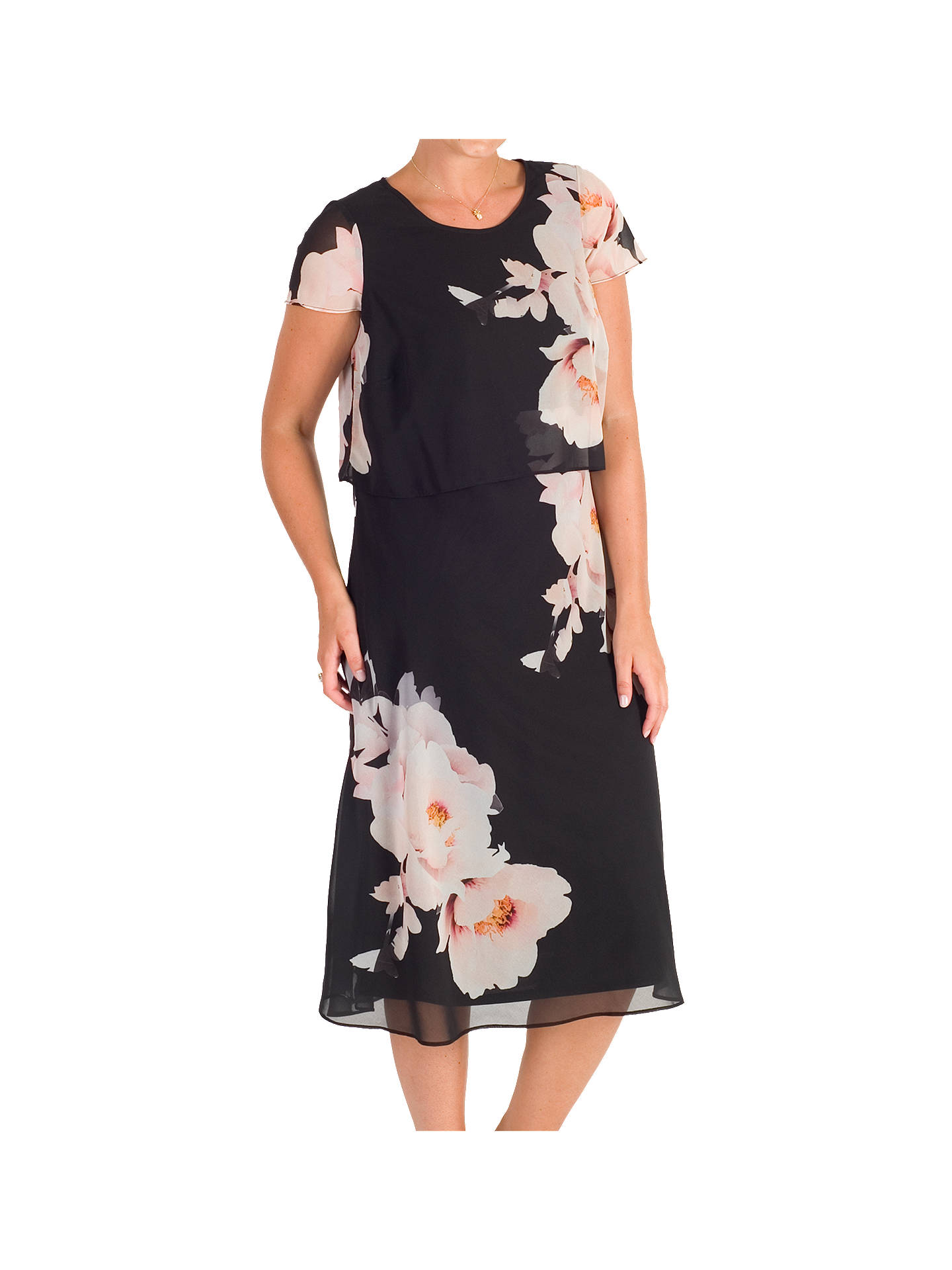 95ed88370388 ... Buy Chesca Floral Print Layered Chiffon Dress, Black/Blush, 12 Online  at johnlewis ...