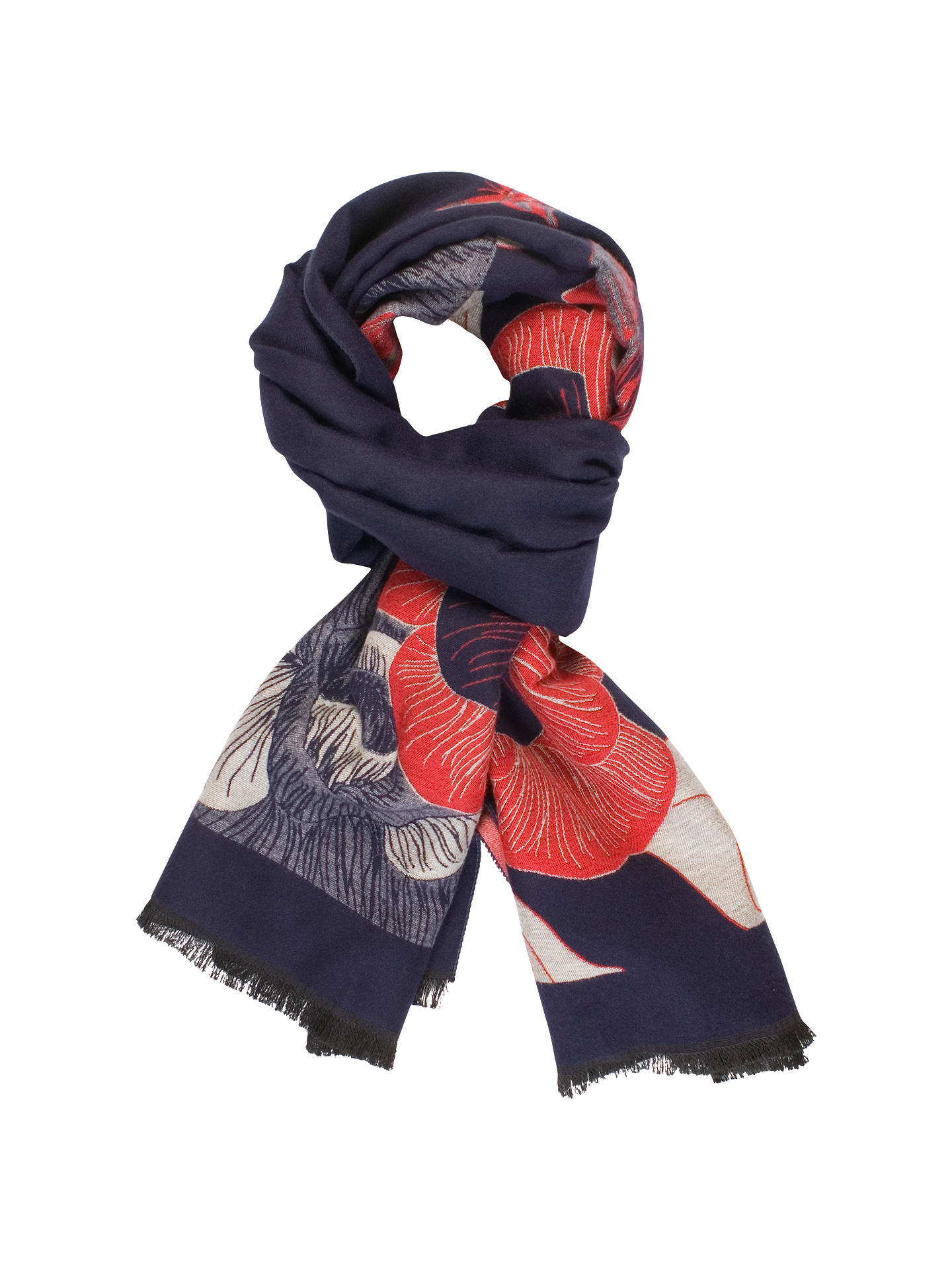 d8848f943 Buy Chesca Butterfly And Floral Print Scarf, Red/Navy Online at  johnlewis.com ...