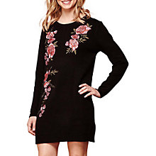 Buy Yumi Embroidered Jumper Dress, Black Online at johnlewis.com