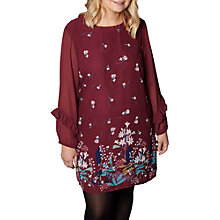 Buy Yumi Curves Lily Snowdrop Border Tunic Dress, Burgundy Online at johnlewis.com