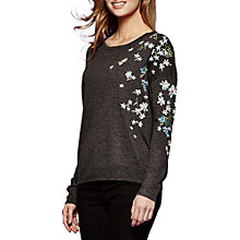 Buy Yumi Embroidered Floral Jumper, Dark Grey Online at johnlewis.com