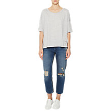 Buy French Connection Hetty Short Sleeve Oversized Top, Light Grey Melange Online at johnlewis.com