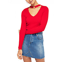 Buy Karen Millen Ring Choker Rib Top, Red Online at johnlewis.com