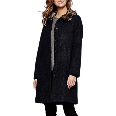 Yumi Faux Fur Trim Coat, Dark Navy