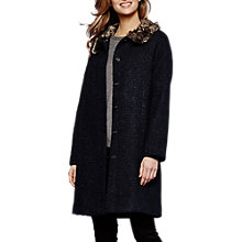 Buy Yumi Faux Fur Trim Coat, Dark Navy Online at johnlewis.com