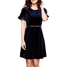 Buy Yumi Polka Dot Velvet Dress, Petrol Blue Online at johnlewis.com