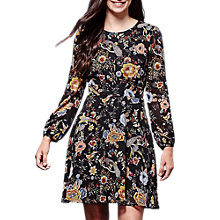Buy Yumi Retro Floral Print Skater Dress, Black Online at johnlewis.com