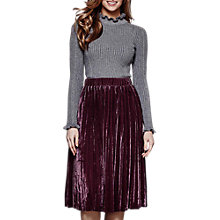 Buy Yumi Pleated Velvet Midi Skirt, Purple Online at johnlewis.com