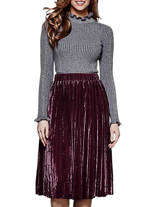 Yumi Pleated Velvet Midi Skirt