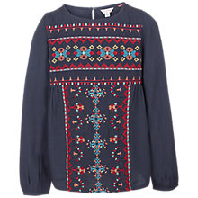 Buy Fat Face Girls' Long Sleeve Embroidered Blouse, Navy Online at johnlewis.com